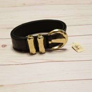 Express Black Leather Gold buckle belt